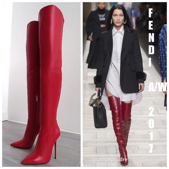 87b2bf6d4cb9 Italia 1969 Shoes | Red Leather Thigh High Boots 41 Vday | Poshmark